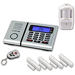 Olympia 5940 Protect 6061 Drahtlose Festnetz Alarmanlage mit Notruf und Freisprechfunktion, App Steuerung mit ProCom App, silber