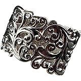 Modeschmuck Modischer Armreifen Blumenmuster Breit Silber AR002