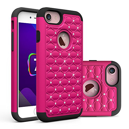iPhone 7 Hülle, Pasonomi [Outdoor] [Dual Layer] Strass Bling Handy Tasche Case Cover Etui für iPhone 7 (Hot Pink) Hot Pink