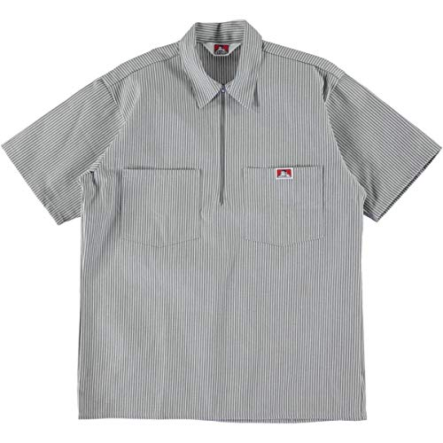 Ben Davis Short Sleeve Half Zip Work Shirt Stripe Grey - Ben Short Sleeve T-shirt