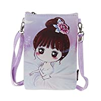 Teens Girls Kids Students Cute Cartoon PU Leather Mini Shoulder Bags Crossbody Bags Cell Phone Case Holder Small Wallet Purse Cash Key Coin Pouches Clutch Handbag Pink