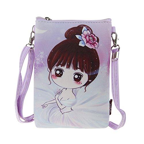 Mädchen Brustbeutel Brusttasche Handystasche Kleingeldtasche PU Leder Schlüsseltasche Kartentasche Umhängetasche mit süße Design und Farben Farbe2