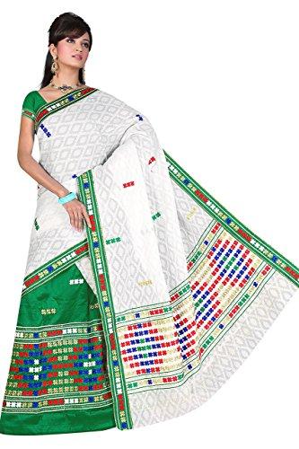 """Assamese Mekhela Chadar """"PURE GOLD""""(GREEN)"""
