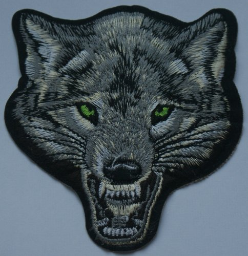 wolf-head-hint-of-green-iron-on-sew-on-embroidered-patch-badge-applique-motif-by-fabric-factory-uk