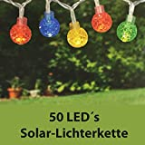 LAMPION Solarlichterkette mit 50 LED´s - Outdoor - 5m lange Lampions Lichterkette für den Außenbereich