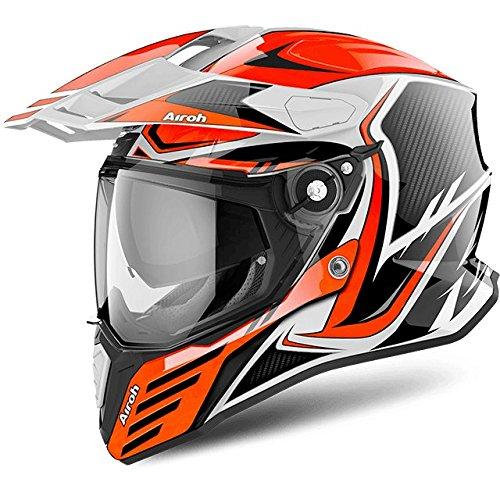 Airoh CMCA32 Motorradhelm Commander aus Carbon, Orange Gloss, Größe L