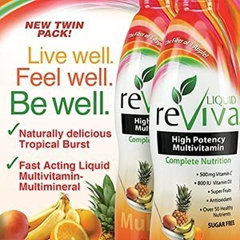 LIQUID reViva Multivitamin Twin Pack 2 X 32 Ounce Tropical Burst Total 2 Botle by LIQUID