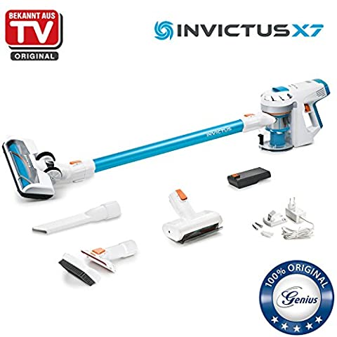 Genius Invictus X7 | Akku-Staubsauger inkl. motorisierter Mini-Elektrobürste | 14 Teile | beutel- & kabellos | digitaler BLCD-Motor | 380 Watt | 80.000 UpM | LED-Spot-Lichter | Permanent On-Funktion | 25.2 V Lithium-Ionen Akku | Bekannt aus TV | NEU