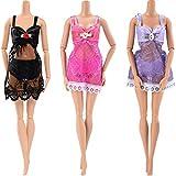 Asiv 3 Sets Party-Model Abendkleider Kleidung Set für Barbie Puppen Dolls, Fashion 3 Kleider, 3 Bra, 3 Slips - Weihnachten Geschenk