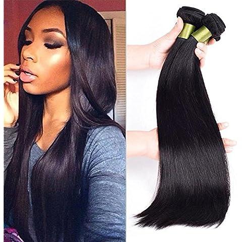 Meydlee AccessoriPosticci 6a pacchi dei capelli umani lisci mescolano estensioni dei capelli umani di lunghezza colore naturale 3Bundles , 14 16 18