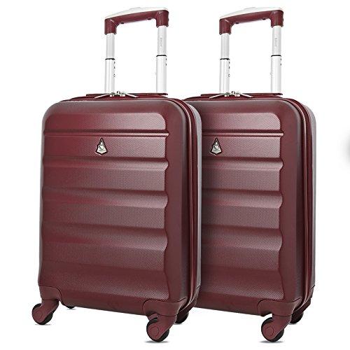 Aerolite abs trolley bagaglio a mano valigia rigida leggera con 4 ruote, approvata per ryanair, easyjet, alitalia, lufthansa, swiss e molte altre, set di 2 valigie, vino rosso