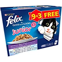 Purina Felix Junior As Good As It Looks Mixed Wet Cat Food Pouch - 100 gm, Pack of 12
