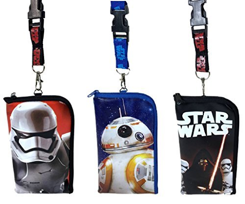Star Lanyard Wars (Disney Star Wars Lanyard ID Holder Cute Design Set of 3 by)