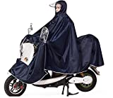 Mens Womens Rain Poncho Mac, Progressive Extra Large Lengthen Universal Mobility Scooter Motorcycling Rain Cape Jackt Cover - Full Protection with Visor, Safe Clear Panel, Reflective Tap (Deep Blue)
