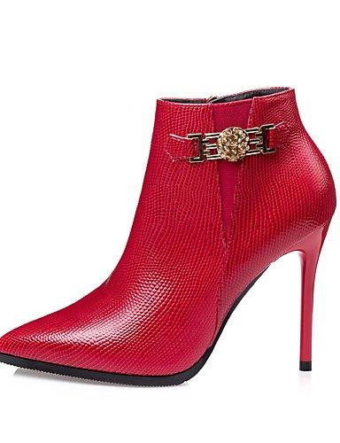 CU@EY Da donna-Stivaletti-Formale-Anfibi-A stiletto-Finta pelle-Nero / Rosso / Grigio red-us8 / eu39 / uk6 / cn39