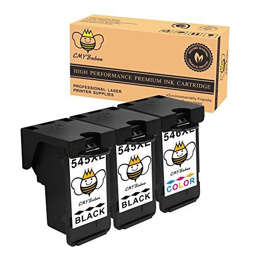 CMYBabee 3-Paquete Remanufacturado Reemplazo para Canon PG-545XL CL-546XL PG-545 XL CL-546 XL PG 545 XL CL 546 XL PG545 XL CL546 XL Alto rendimiento Cartucho de tinta (2Negro,1xColor) Con Chip de reinicio Compatible para Canon PIXMA MG2450 MG2455 MG2550 MG2555 iP2840 iP2850 iP2855 MG2950 MG2950S MG2955 MX495 Impresora