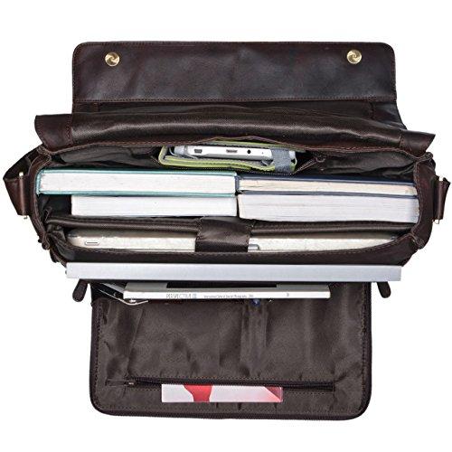 STILORD 'Jan' 15,6 Zoll Laptoptasche Leder Herren Damen Umhängetasche Unitasche Aktentasche Freizeit Bürotasche weiches Vintage Leder, Farbe:sattel - braun ebenholz - braun