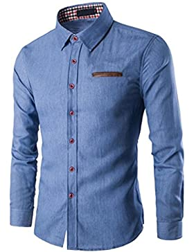 Camicia Uomo Denim Maglietta Camicie Slim Fit elegante Manica Lunga T-shirt Top Beautytop
