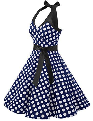 Dressystar Robe de bal élegante Polka Vintage pin-up à 'Audrey Hepburn' 50's 60's Rockabilly Halter,dos nu, à pois Marine à pois blanc B