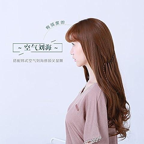 XNWP-Largo cabello rizado peluca cabello simulación de cabello falso, verdadero vello femenino natural peluca olas
