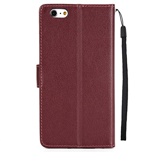 JIALUN-Telefon Fall Horizontale Flip Stand Case Cover mit Cash & Card Slots & Lanyard & Soft TPU Interio Rückseite für iPhone 6 Plus & 6s Plus ( Color : Red ) Wine