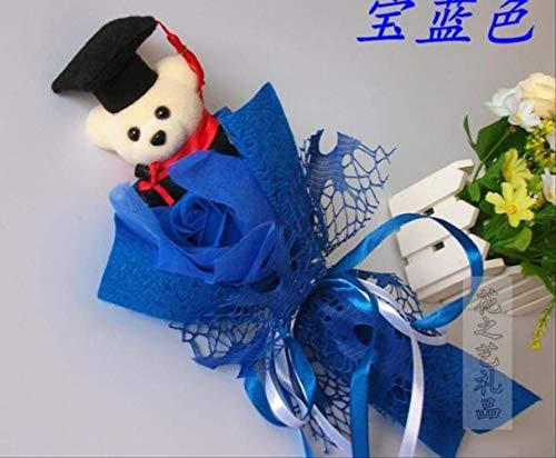 TYKCRt Simpatico Orsetto di Peluche, Regalo di Orsacchiotto con Confezione Regalo, Bambole di Peluche morbide, Confezione Regalo, Bouquet di Peluche, Regalo di Compleanno, Blu
