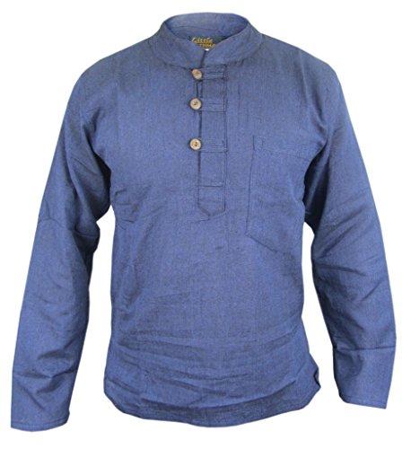 Little Kathmandu Herren Baumwolle Grandad Collarless Festival Sommer Hemden Navy Blau