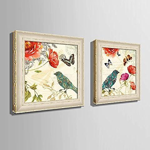 modylee fiori retrò fare la vecchia scatola impermeabile decorazioni dipinte dipinti soggiorno, camera PC 2tela pittura a olio,