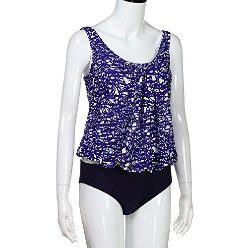 SANFASHION Damen Sexy Bikini, High Waist Bademode Geteilter Badeanzug,Push up Tankinis Sets,Zweiteiler Strand Swimwear Swimsuits, Mode Boho Beachwear, Tank top + Slim Shorts 2 Pcs Sets