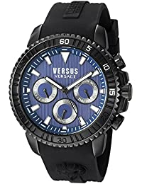 Versus by Versace Men's 'ABERDEEN' Quartz Stainless Steel and Rubber Casual Watch, Color:Black (Model: S30060017)
