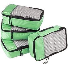 AmazonBasics Lot de 4 sacoches de rangement pour bagage Taille S, Vert