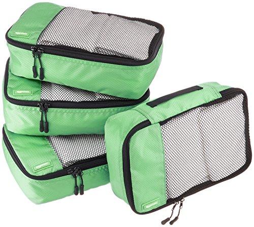 AmazonBasics Lot de 4sacoches de rangement pour bagage TailleS, Vert
