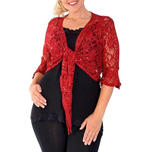 Amberclothing Cardigan boléro grande taille court à dentelle et à paillettes pour femme Motif floral rubis