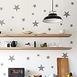 IDEAVINILO - Walldeco - Estrellas de tres tamaños. Color gris. Medidas: 110x50cm
