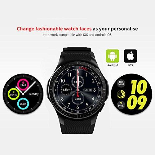 Kivors Reloj Inteligente L1 Bluetooth Smartwatch 1.3 Pulgadas Redondo HD IPS Pantalla Soporte SIM/TF Tarjeta con Podómetro Monitor de Dormir y Presión Arterial Cámara Remota para Android e iOS