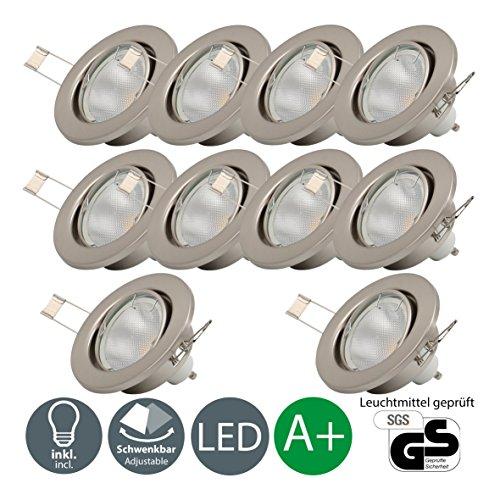 (LED Einbaustrahler Schwenkbar Inkl. 10 x 5W Leuchtmittel GU10 IP23 LED Einbauleuchte Deckenspot Einbauspot Deckeneinbauleuchte Spots 230V 10er Set Warmweiss Metall Matt Nickel)