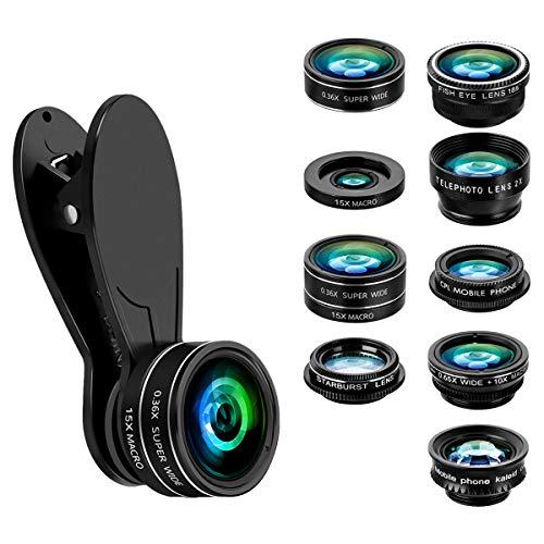 Handy Objektiv Set, GLISTENY 9 in 1 Telefon Objektiv Set, Universal-Tele-Kit Clip-On, 2X Tele Zoom + 185 ° Fisheye Objektiv + 0,36 X Super Weitwinkelobjektiv + 0,65 X Weitwinkelobjektiv