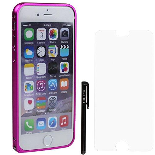 """xhorizon TM 0.6mm solide anti-choc ultra-mince en aluminium métal Bumper etui coque housse Case Cover pour iPhone 6 (4.7 """")+ chiffon de nettoyage + 9H Rigide Film Protecteur d'Écran en verre trempé+ 1 Rouge"""