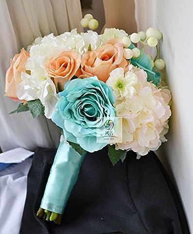 Yxhflo Emulation Blume Blumen Hochzeit Kunst Brautsträuße Uniteds Rose Champagner Hand In Blau Und Weiß