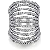 Bling Jewelry Pave CZ Modern Full Finger Knuckle Ring 925 Sterling Silver