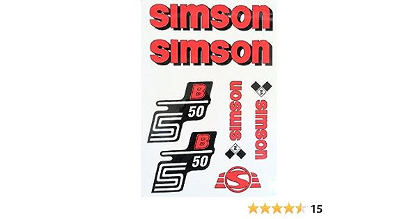 Aufkleber Set Für Simson S50b Tank Und Seitendeckel Silber Rot Blau Weiß Rot Auto