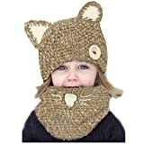 HANERDUN Winter Halten Warme Stricken Mütze und Schal Set für Baby Mädchen Junge