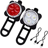 LE® Rechargeable LED Bike Light Set, Cycling Headlight and Taillight, 2 USB Cables Included, 4 Light Modes, 350lm, Water Resistant, IPX4, Front and Rear Bicycle Light Set, Bike Lights