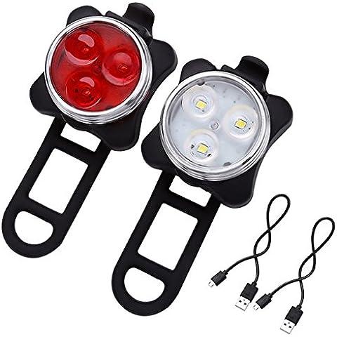 LE Juego de 2 luces LED para bicicleta - luz frontal y luz trasera, recargables, flujo luminoso total de 350lm, 4 modos de luz, resistentes al agua (IPX4), 2 cables USB