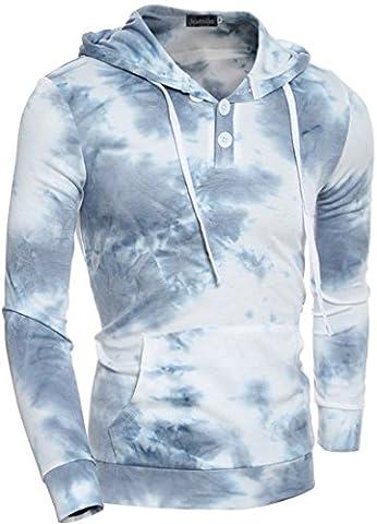 Jeansian Hommes Mode Sweats a capuche Sport Hoodies Men's Casual Hoody Sports Sweatshirt Top 88H4 Blue XS(M)