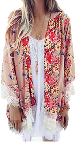 Clode® Women Printed Chiffon Shawl Kimono Cardigan Tops Cover Up Blouse (XXL)