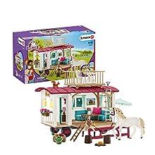 Schleich- Playset Caravane pour Les Rencontres secrètes du Club Horse, 42415, Multicolore