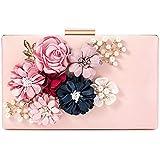 Damen rosa Handtasche mit Blumen Perlen Deko aus PU-Leder Clutch Abendtasche Brauttasche für Abschlussball Partei Hochzeit