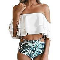 Conjunto de Bikini Impreso para Mujer, LILICAT® 2 Pcs Traje de Baño Acolchado Push-up❤️ Parte de Arriba Bikini con volantes + Bikini Braga Alta Tanga bikini playa (S, ❤️ Blanco)