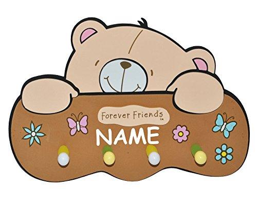 3-D Kindergarderobe - Teddy Bär Forever Friends incl. Namen - mit 4 Kleiderhaken Moosgummi - Garderobenhaken Wandhaken Kinder Garderobe Kind Wandgarderobe Haken  Kinderzimmer Teddybär Mädchen Jungen
